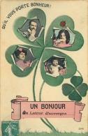 63-520 CPA  Original   LATOUR D AUVERGNE  Un Bonjour   Trefle à Quatre Feuilles     Belle Carte - Autres Communes