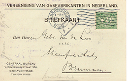 1915  Bk Met Firmalogo Vereeniging Van Gasfabrikanten - 'sGravenhage - Poststempel