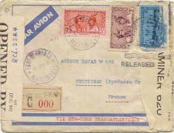 Lettre Recommandée Censurée N° 000 Du 11 Janvier 1941 Pour Agence Havas Perpignan , Via NY Transatlantique ............. - Lettres & Documents