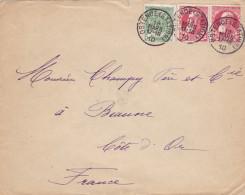 N° 74 (paire ) Et N° 83 : Lettre D' Ostende Station Vers La Côte D'or  France - 1905 Grosse Barbe