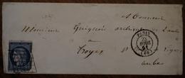Enveloppe Avec Cad De Paris Adressée à Monsieur L'archiviste Guignard à Troyes, 1851, Timbre Céres 25 C - Marcophilie (Lettres)