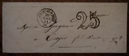 Enveloppe Avec Cad De Mirebeau Sur Bèze Adressée à Monsieur L'archiviste Guignard à Troyes, 1851 - 1849-1876: Période Classique