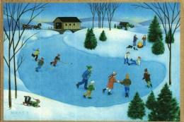 Carte Double   -   Illustrée  Signée  -   Enfants, Patinage Sur Un Lac, Hockey, Paysage Hivernal - Non Classificati