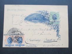 Brasilien 31.12.1895 Ganzsache Mit Zusatzfrankatur Nach Freiburg. Interessante Karte?! Neste Lado So O Endereco - Briefe U. Dokumente