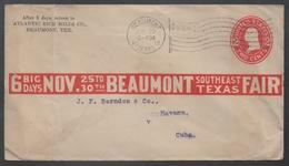 ETATS UNIS - USA - BEAUMONT - TEXAS - FLAG / 1912 ENTIER POSTAL PRIVE POUR LA HAVANE - CUBA (ref 7286) - Etats-Unis