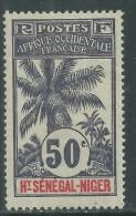 Haut-Sénégal N° 13 X  Type  Palmiers  : 50 C. Violet  Trace De Charnière Sinon TB