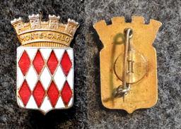 Ecusson Ancien MONTE CARLO Broche (insigne) En Métal Doré émaillé - Ecussons Tissu