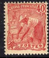 Guyane N° 59 XX Série Courante : Laveur D´or : 40 C. Rose, Sans Charnière, Gomme Coloniale Sinon  TB