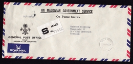 Maldives: Official Registered Airmail Cover To Germany, 1980, Rare R-label Male (traces Of Use) - Maldiven (1965-...)