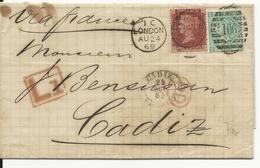 GB - 1869 - LETTRE De LONDON Pour CADIZ (ESPAGNE) Via FRANCE - Marcofilie