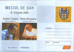 Romania -stationery Cover Unused 2006 - Chess - Chess Match,V.Topalov World Champion And D.Nisipeanu European Champion - Schaken
