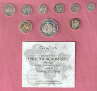 ENGELAND PROBASET EURO'S 1 CT T/M 5 EURO 2002 PROOF SILVER/SILVERGOLD IN ORIGINAL BOX WITH COA - 1971-… : Monnaies Décimales