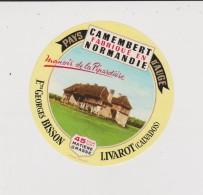 étiquette De Fromage:  Camembert  :  Bisson , Livarot  Manoir - Formaggio