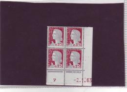 N° 1263 - 0,25F Marianne De DECARIS - BE De BE+BF - 2° Tirage Du 12.12.62 Au 24.1.63 - 2.01.1963 - - 1960-1969