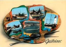 -ref-T371- Finistere - Guilvinec - Souvenir De .. - Multi Vues Palette De Peintre - Chalutier - Criee - Phare - Port - - Guilvinec