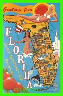 CARTE GÉOGRAPHIQUE - MAP OF FLORIDA - KOPPEL COLOR CARDS - FG221 - - Cartes Géographiques