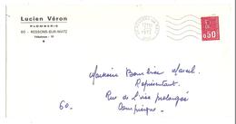 LETTRE RESSONS SUR MATZ OISE 2/6/1972 LUCIEN VÉRON PLOMBERIE - Y & T BÉQUET 1664 - 2 Scans - Marcophilie (Lettres)