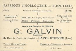42 SAINT ETIENNE ST GALVIN HORLOGERIE BIJOUTERIE CARTE DE VISITE - Cartes De Visite