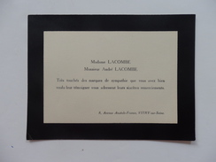 Remerciement Pour Un Décés De La Part Mme Lacombe Et De Mr André Lacombe 8, Av, Anatole-France à Vitry-sur-Seine (94). - Old Paper