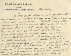 81 CAMPANS CASTRE PAILHAS CURE   CARTE DE VISITE TARN - Cartes De Visite