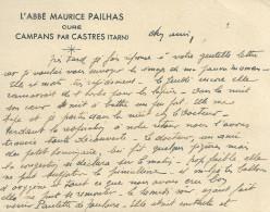 81 CAMPANS CASTRE PAILHAS CURE   CARTE DE VISITE TARN - Cartoncini Da Visita
