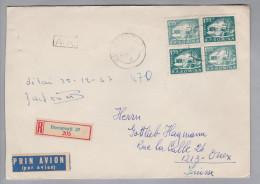 Rumänien 1957-02-13 Bukarest R-Brief Mit Rückschein Nach Onex CH - 1948-.... Républiques