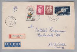 Rumänien 1957-02-03 Bukarest R-Brief Mit Rückschein Nach Onex CH - 1948-.... Républiques