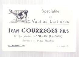 -  Carte De Visite  Jean Courrèges Et Fils - Spécialité De Vaches Laitières - LANGON - Cartes De Visite
