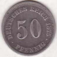 ALLEMAGNE . 50 PFENNIG 1875 G (KARLSRUHE)  . ARGENT - [ 2] 1871-1918: Deutsches Kaiserreich