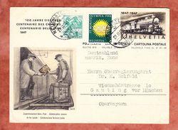P 212/10? Lokomotive + ZF, Abb: Postuebergabe, Neuchatel Nach Gauting 1948 (33695) - Interi Postali