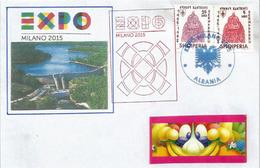 ALBANIE. EXPO UNIVERSELLE MILAN 2015. Lettre Du Pavillon ALBANIE, Avec Timbres Albanais Du Pavillon - 2015 – Milan (Italy)