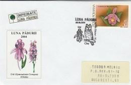 #BV5437 OWLS, BIRD, ANIMAL, FLOWER, ORCHID, NATURE, SPECIAL COVER, OBLITERATION OWLS, 2004, ROMANIA. - Eulenvögel