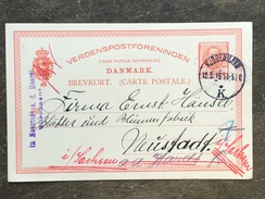 B5 Dänemark Denmark Ganzsache Stationery Entier Postal Mi. P 140 Kopenhagen Nach Neustadt Sachsen Fehlgeleitet - Postal Stationery