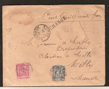 Enveloppe Chargé -Timbres 15 Et 50 Cts , Oblitéré Du 13 Mai 1898 - Cachets De Cire Au Dos - Marcophilie (Lettres)