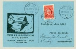 Nederland - 1945 - 1e KLM Vlucht In Vrij Europa - Amsterdam - Kobenhavn - 1891-1948 (Wilhelmine)
