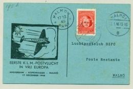 Nederland - 1945 - 1e KLM Vlucht In Vrij Europa - Amsterdam - Malmö - 1891-1948 (Wilhelmine)