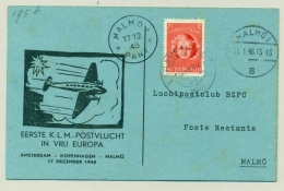 Nederland - 1945 - 1e KLM Vlucht In Vrij Europa - Amsterdam - Malmö - Brieven En Documenten
