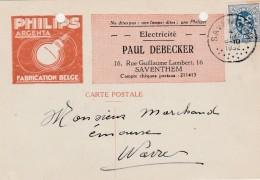Saventhem ,carte Publicitaire, Paul Debecker , Philips  Argenta  ;lampe, Ampoule ;electricité - Zaventem