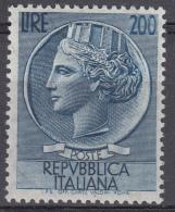 Italia - 1957 - Italia Turrita 200 Lire ** Fil. Stelle - 1946-.. République
