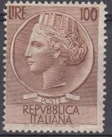 Italia - 1955 - Italia Turrita 100 Lire ** Fil. Stelle - 1946-.. République