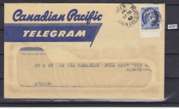 CANADA 1957, TELEGRAPH WITH CONTENT, NORTH BAY 26. OCT. 1957, CANADIAN PACIFIC TELEGRAM, See Scans