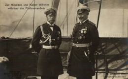 UNIQUE  Carte Photo Zar Nikolaus Tzar Nicolas De Russie Und Kaiser Wilhelm Wahrend Der Flottenmanover - Rusia