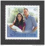 Canada, MNH, 2013, Prince William, Kate Middleton, Prince George, Bébé, Baby, Famille, Family - 1952-.... Règne D'Elizabeth II