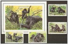 (WWF-024) W.W.F. Rwanda MOUNTAIN GORILLA MNH Perf Stamps & Souvenir Sheet 1985 - W.W.F.
