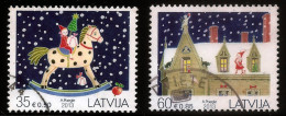 LATVIA 2013 Christmas Stamp Cradle Of Seahorse /horse / Cat  FULL SET USED (0) - Lettland