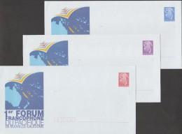 Nouvelle Calédonie 2003. 3 Entiers Postaux (rouge Intérieur, Bleu France, Mauve Monde). Forum Francophone. Cartes - Langues