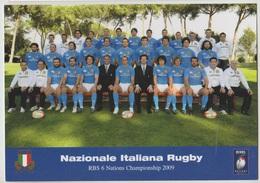 N. 1 CARTOLINA SPORT RUGBY NAZIONALE ITALIANA  4 FEBBRAIO 2009  F/G NON VIAGGIATA - Rugby