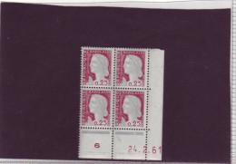 N° 1263 - 0,25F Marianne De DECARIS - Z De Y+Z - 1° Tirage Du 1.2.61 Au 8.3.61 - 24.02.1961 - - 1960-1969