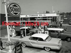 Reproduction Photographie D'une Vue D'une Station Essence Sohio The Standard Oil Aux Etats Unis - Reproductions
