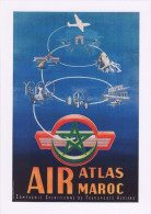 Aviation Poster Art Postcard Air Atlas Maroc G Debureau 1954 Morocco - Publicité